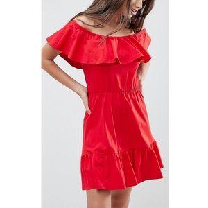 ASOS off the shoulder sundress tiered skirt 12 red
